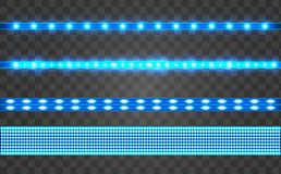Set LED realistic blue ribbon on a transparent background. Neon or led glowing light stripes with glare and light flashes. LED neon Garlands decorations royalty free illustration