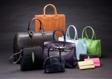 Set lederne Handtaschen stockfotografie