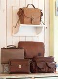 Set lederne Handtaschen lizenzfreies stockbild