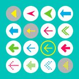 Set of 16 left arrow icons. Arrow buttons on turquoise background in white, gray and transparent circles vector illustration