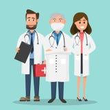 Set lekarki trzyma pierwszej pomocy pielęgniarki i pudełka charaktery Fotografia Stock
