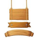 Set lekcy drewniani sztandary Zdjęcie Stock
