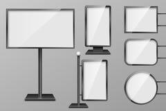 Set Lekkich pudełek szablon Plenerowego 3d handlu detalicznego oświetleniowi billboardy Realistyczne deski dla reklamować i proje Zdjęcia Royalty Free