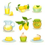 Flat vector set of lemon food and drinks. Bright yellow citrus fruit. Tasty desserts and fresh lemonade. Set of lemon food and drinks. Bright yellow citrus fruit vector illustration