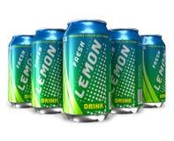 Set of lemon soda drinks in metal cans royalty free illustration