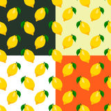 Set of lemons seamless patterns Stock Image