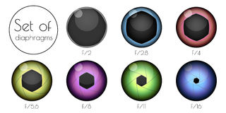 Set the lens aperture. Set the 3d colored lens aperture on a white background Royalty Free Stock Photo