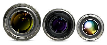Set of lens. Three different sizes of camera lens on white background Royalty Free Stock Images