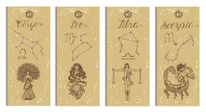 Set with Leo, Virgo, Libra and Scorpio Zodiac symbols banners on texture Royalty Free Stock Photos
