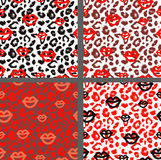 Set leopard print pattern. Set tiger print pattern Stock Photo