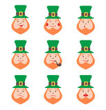 Set of Leprechaun avatars with emotions Stock Photography