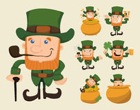 Set of leprechaun characters poses Royalty Free Stock Photography