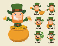 Set of leprechaun characters poses Stock Photos