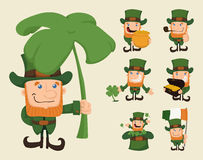 Set of leprechaun characters poses Royalty Free Stock Photos