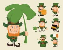 Set of leprechaun characters poses Royalty Free Stock Photos