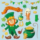 Set of leprechaun characters poses , eps10 vector format Stock Photography