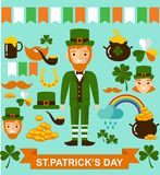 Set of leprechaun characters poses. Vector illustration of a St. Patrick's Day design elements collection Royalty Free Stock Photo