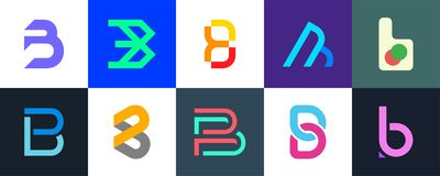 Set of letter B logo. Icon design. Template elements - Collection of vector sign vector illustration