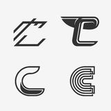 The set of letter C sign, logo, icon design template elements. Stock Photo