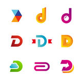 Set of letter D logo icons design template elements Royalty Free Stock Photos