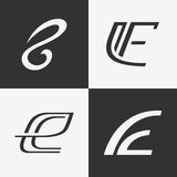 The set of letter E sign, logo, icon design template elements. Stock Images
