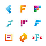 Set of letter F logo icons design template elements Stock Photo