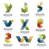 Set of letter geometric logo vector. Creative modern colorful letter logo , modern letter IT logo, Letter e-commerce logo royalty free illustration