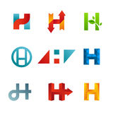Set of letter H logo icons design template elements Stock Photos