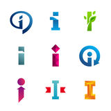 Set of letter I logo icons design template elements Royalty Free Stock Photo
