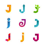 Set of letter J logo icons design template elements. Collection Stock Photography