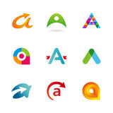 Set of letter A logo icons design template elements Royalty Free Stock Image