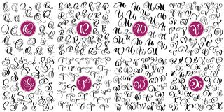 Set letter Q, R, S, T, U, V, W, X Hand drawn vector flourish calligraphy. Script font. Isolated letters written with ink. Handwritten brush style. Hand vector illustration