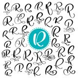Set letter R. Hand drawn vector flourish calligraphy. Script font. Isolated letters written with ink. Handwritten brush. Style. Hand lettering for logos vector illustration