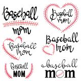 Set of lettering baseball mom.Collection of baseball mom inscriptions. Vector illustration of lettering for clothes.
