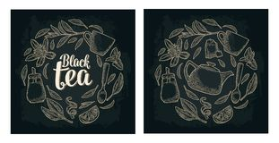 Set with lettering Black Tea. Vector vintage engraving vector illustration