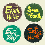 Set lettering Earth Day Royalty Free Stock Photo