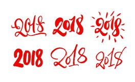 Set of 2018 lettering. Hand drawn 2018 year calligraphy numbers. Red on white. Modern style collection vector illustration