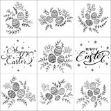 Set of lettering Happy Easter and decorative eggs. Set of floral pattern and decorative eggs on white background and lettering Happy Easter, illustration Stock Photo