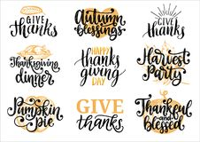 Set with lettering and illustrations for Thanksgiving Day. Give Thanks, Pumpkin Pie, vector drawn and handwritten labels. Set with lettering and illustrations royalty free illustration