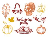 Set of lettering and illustrations for Thanksgiving Day. Vector drawn and handwritten labels of Happy Fall etc. Royalty Free Stock Photo