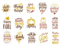 Set of lettering and illustrations for Thanksgiving Day. Vector drawn and handwritten labels of Happy Fall etc. Set of lettering and illustrations for stock illustration