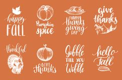 Set of lettering and illustrations for Thanksgiving Day. Vector drawn and handwritten labels of Happy Fall etc. Royalty Free Stock Photos