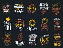 Set of lettering and illustrations for Thanksgiving Day. Vector drawn and handwritten labels of Happy Fall etc. Set of lettering and illustrations for royalty free illustration