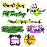 Set with lettering Mardi Gras Stock Image
