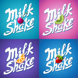Set of lettering milkshake sign with Strawberry, kiwi, orange, cherry - label Stock Image
