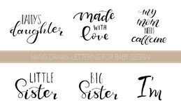 Set lettering quotes for design of babies clothes stock illustration