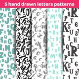 Set of 5 lettering seamless patterns background with letters for textile, wrapping paper, greeting cards. Set of 5 lettering seamless patterns background with Stock Photos