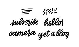 Set of lettering Subscribe Hello Camera Get a blog. Youtube insc stock illustration