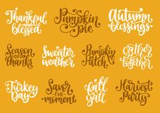 Set with lettering for Thanksgiving Day. Season Of Thanks, Pumpkin Pie, Thankful and Blessed, vector handwritten phrases stock illustration
