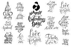 Set of letterings Valentines theme Royalty Free Stock Photography